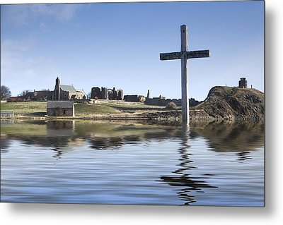 Cross In Water, Bewick, England Metal Print by John Short