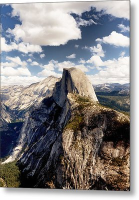Cumulus Clouds And Half Dome Yosemite National Park Metal Print by Troy Montemayor