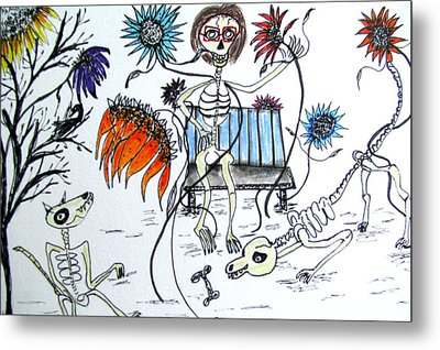 Day Of The Dead Dog Park Metal Print