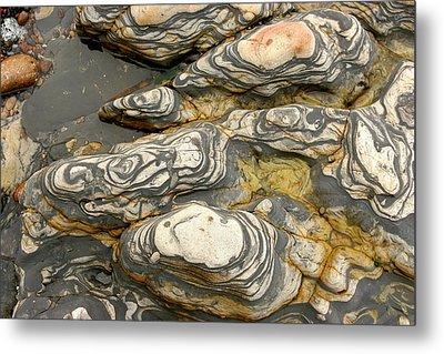 Detail Of Eroded Rocks Swirled Metal Print by Charles Kogod
