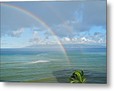 Metal Print featuring the photograph Double Rainbow In Maui by Kirsten Giving