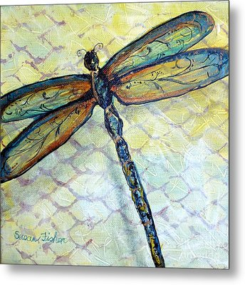 Metal Print featuring the painting Dragonfly Dancer by Susan Fisher