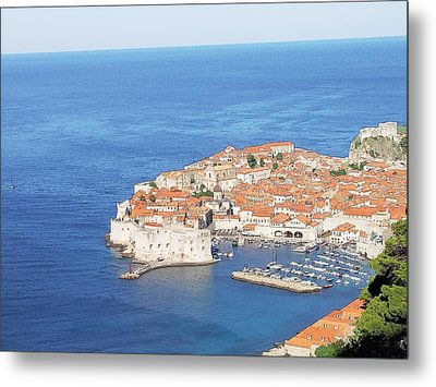 Metal Print featuring the drawing Dubrovnik Former Yugoslavia Croatia by Joseph Hendrix