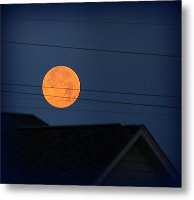 Early Morning Full Moon Over Walton Kentucky Metal Print by Maureen  McDonald