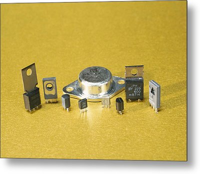 Electronic Circuit Board Components Metal Print by Andrew Lambert Photography