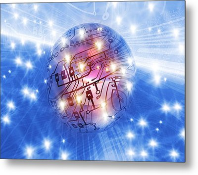 Electronic World, Artwork Metal Print by Mehau Kulyk