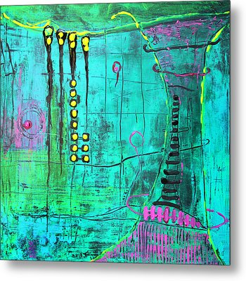 Metal Print featuring the painting Emerald World by Lolita Bronzini