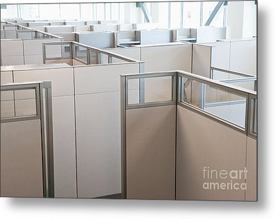 Empty Office Cubicles Metal Print by Jetta Productions, Inc