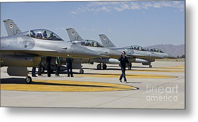 F-16 Pilots Work With Crew Chiefs Metal Print by HIGH-G Productions