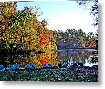 Fall At The Lake Metal Print by Larry Bishop