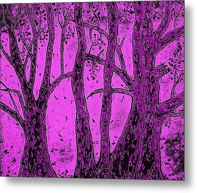 Falling Leaves Purple Metal Print