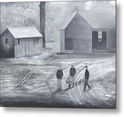 Farm In Black And White Metal Print by Stuart B Yaeger
