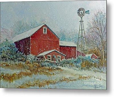 Farm In Winter Metal Print by Louise Peardon