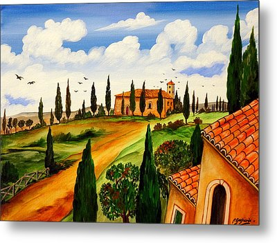 Metal Print featuring the painting Fattoria Toscana by Roberto Gagliardi