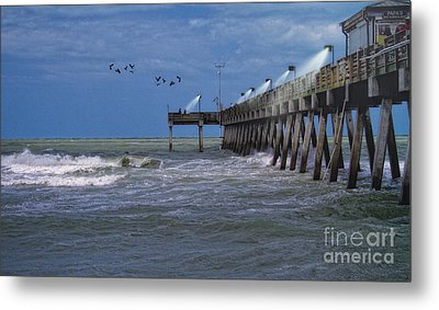 Florida Fishing Pier Metal Print by Gina Cormier