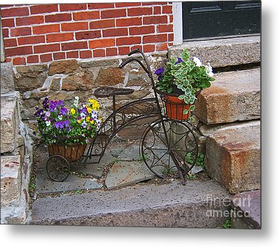 Flower Bicycle Basket Metal Print
