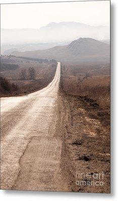 Foggy Road In Dobrogea Metal Print by Gabriela Insuratelu