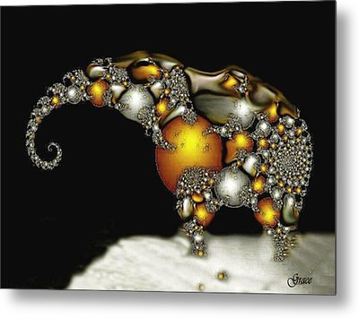 Fractal Elephant Metal Print by Julie Grace