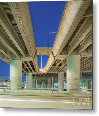 Freeway Overpass Support Structure At Night Metal Print by Eddy Joaquim