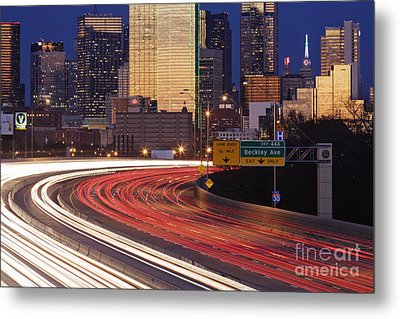 Freeway Traffic At Dusk On I-30 Metal Print by Jeremy Woodhouse