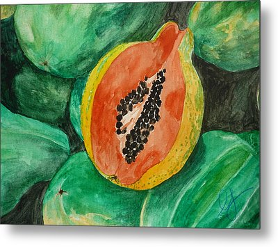 Fresh Papaya For Sale Metal Print by Estephy Sabin Figueroa