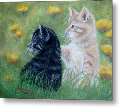 Frisky Friends Metal Print