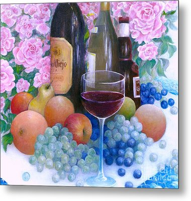 Fruits Wine And Roses Metal Print