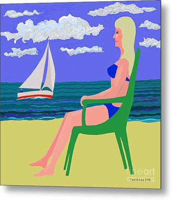 Girl At Beach Metal Print by Fred Jinkins