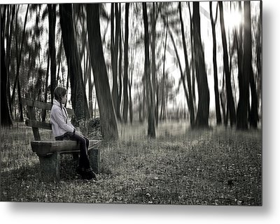 Girl Sitting On A Wooden Bench In The Forest Against The Light Metal Print by Joana Kruse