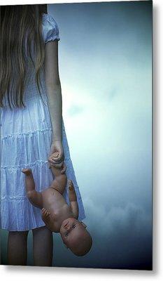 Girl With Baby Doll Metal Print by Joana Kruse