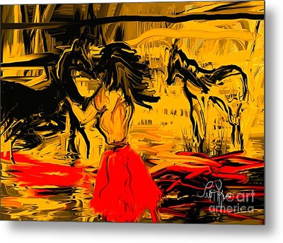 Metal Print featuring the digital art Girl With Horses by Leo Symon
