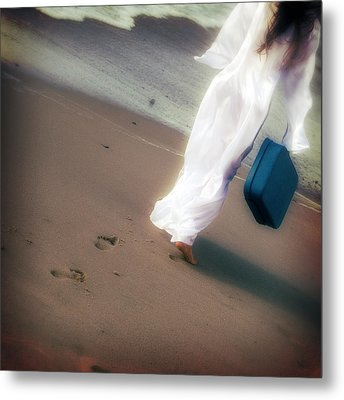 Girl With Suitcase Metal Print by Joana Kruse