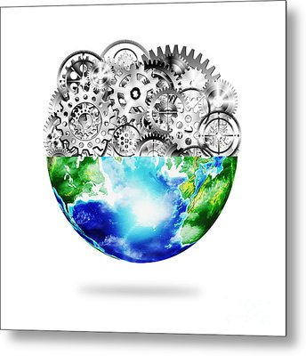 Globe With Cogs And Gears Metal Print by Setsiri Silapasuwanchai