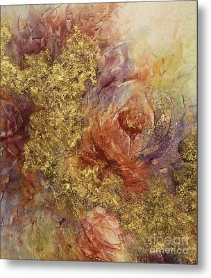 Metal Print featuring the ceramic art Golden Rose Path by Kathleen Pio