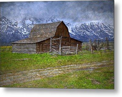 Grand Teton Iconic Mormon Barn Fence Spring Storm Clouds Metal Print by John Stephens
