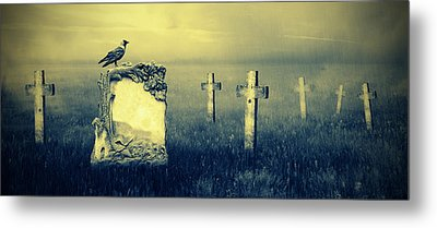 Gravestones In Moonlight Metal Print by Jaroslaw Grudzinski