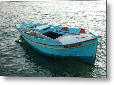 Metal Print featuring the photograph Greek Fishing Boat by Therese Alcorn