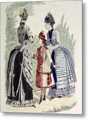 Hand-colored Engraving Of Two Women Metal Print by Everett