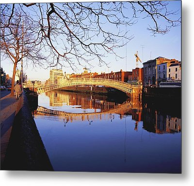 Hapenny Bridge, River Liffey, Dublin Metal Print by The Irish Image Collection
