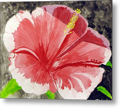 Metal Print featuring the painting Happy Hibiscus by Debi Singer