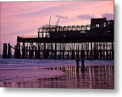 Hastings Pier After The Fire Metal Print by Dawn OConnor
