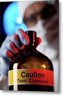 Hazardous Chemical Metal Print by Tek Image