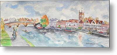 Metal Print featuring the painting Henley On Thames by Geeta Biswas