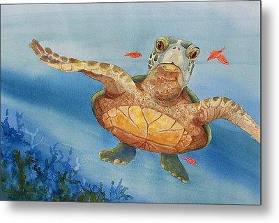 Henry C. Turtle-lunch With Friends Metal Print by Joy Braverman