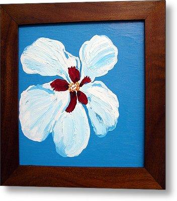 Hibiscus On Blue Metal Print by Karen Nicholson