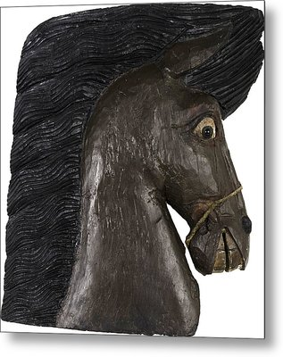 Metal Print featuring the painting Horse Head by Unsigned