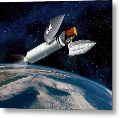 Integral Satellite Launch, Artwork Metal Print by David Ducros
