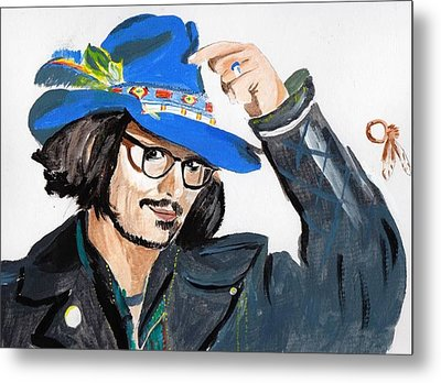 Metal Print featuring the painting Johnny Depp 3 by Audrey Pollitt