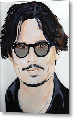 Metal Print featuring the painting Johnny Depp 4 by Audrey Pollitt