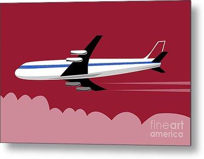 Jumbo Jet Plane Retro Metal Print by Aloysius Patrimonio